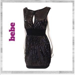 Bebe sequin black mini dress size S